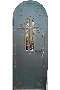 Входная металлическая арочная дверь с ковкой SteelDoor АР-8